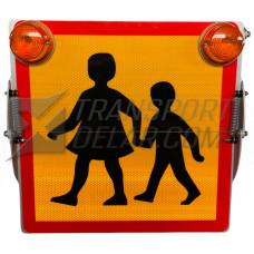 Skolskjutsskylt vikbar med blinklyktor
